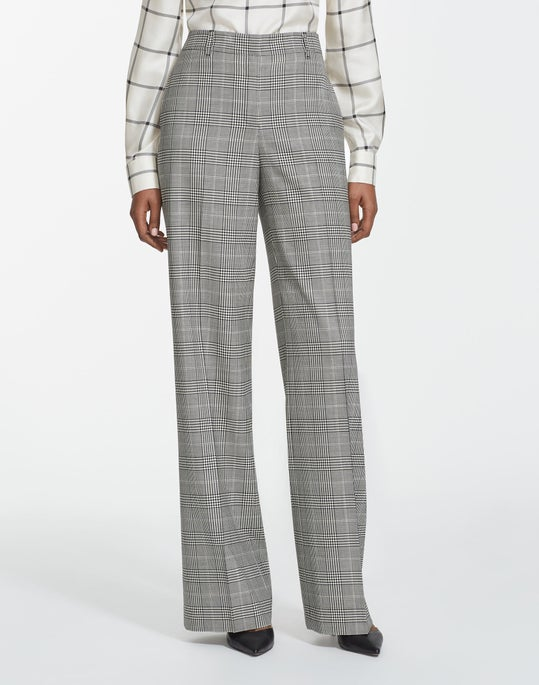 Plus-Size Houndstooth Plaid Dalton Wide-Leg Pant