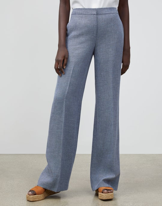 Italian Linen-Virgin Wool Dalton Wide-Leg Pant