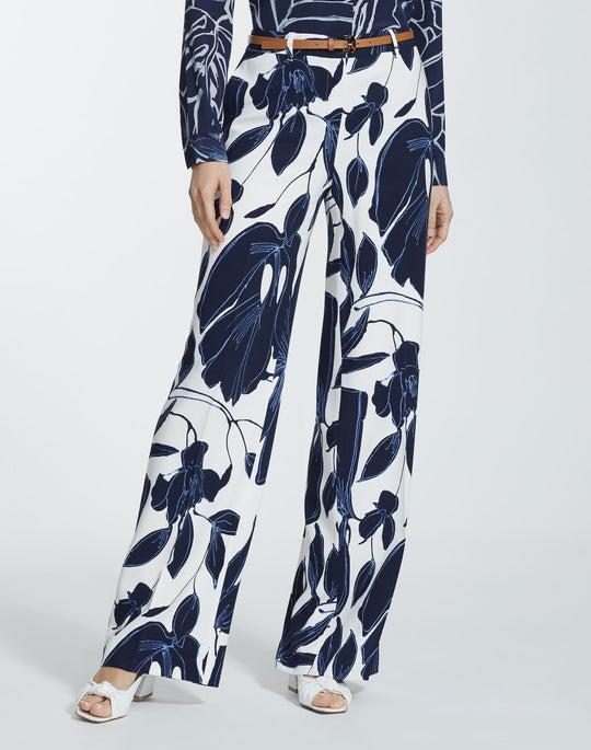 Botanical Print Drape Cloth Dalton Wide-Leg Pant