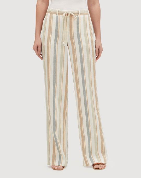 Petite Harmonious Linen Stripe Columbus Wide-Leg Pant