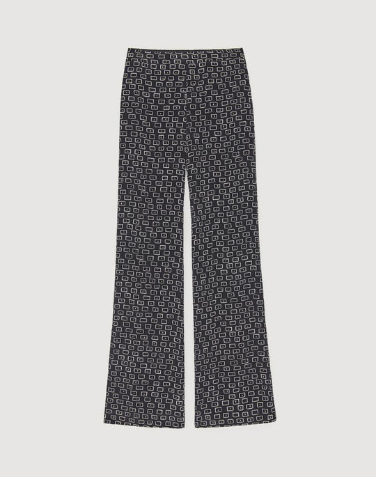 Petite Piazza Print Silk Flat Front Columbus Wide-Leg Pant