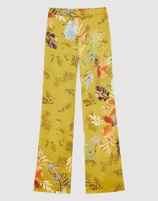 Bouquet Print Drape Cloth Flat Front Columbus Wide-Leg Pant