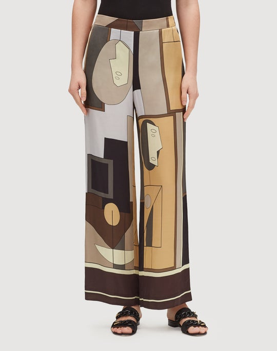 Abstract Printed Sheen Cloth Flat Front Columbus Wide-Leg Pant