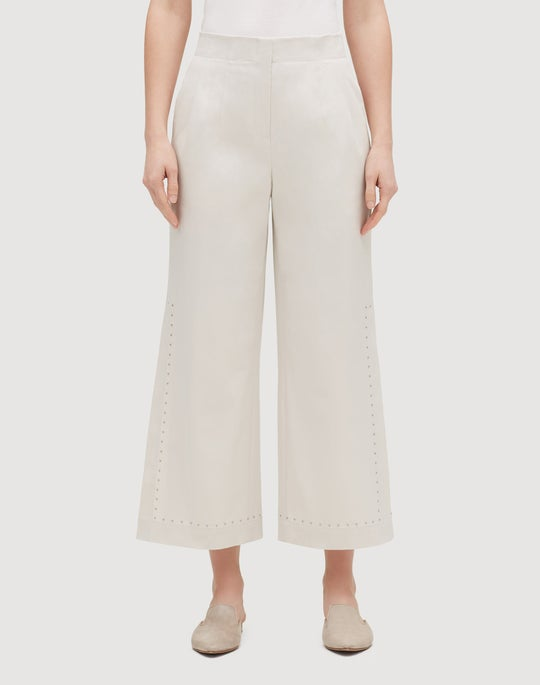 Italian Gabardine Downing Cropped Side Slit Pant