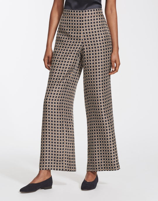 Distinct Dot Print Silk Ankle Riverside Pant