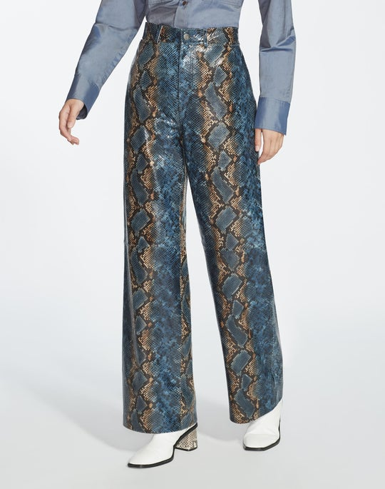 Hand-Painted Snake Print Leather Ankle Clark Pant