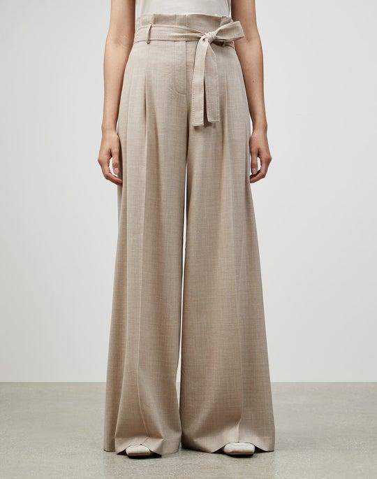 Italian Mélange Wool Tillary Wide-Leg Pant