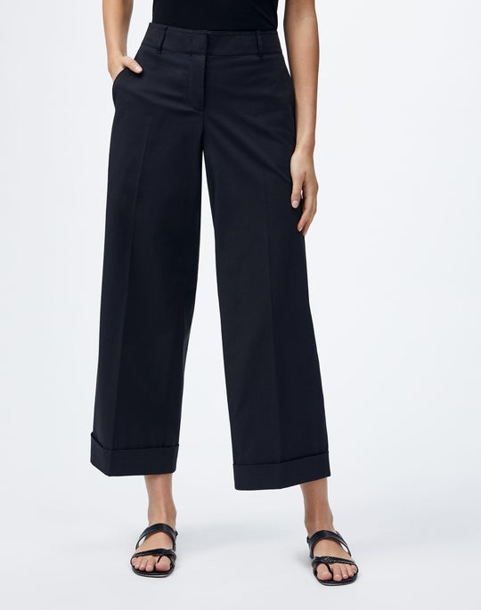 Plus-Size Italian Pima Cotton Bi-Stretch Broadway Cuffed Cropped Pant
