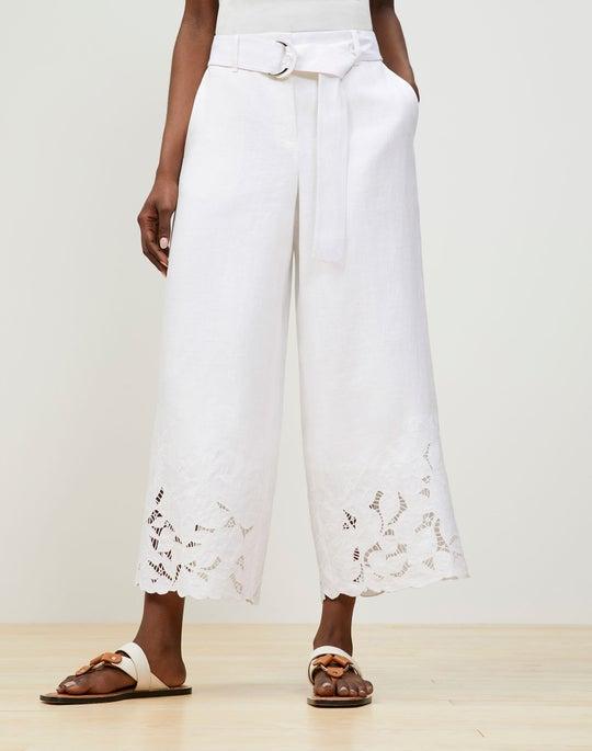 Plus-Size Rockefeller Pant In Embroidered Lavish Linen