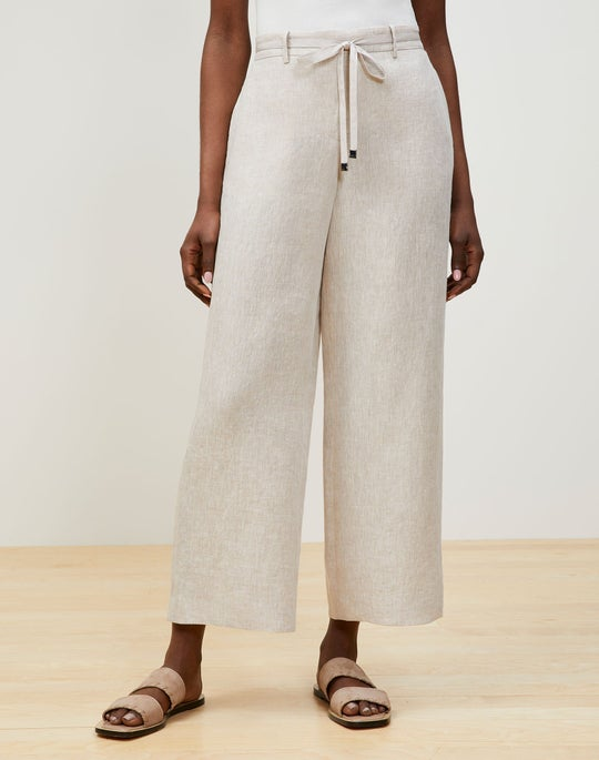 Illustrious Linen Cropped Columbus Wide-Leg Pant