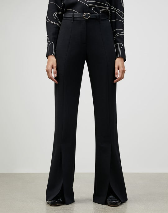Luxe Italian Double Face Roosevelt Wide-Leg Pant