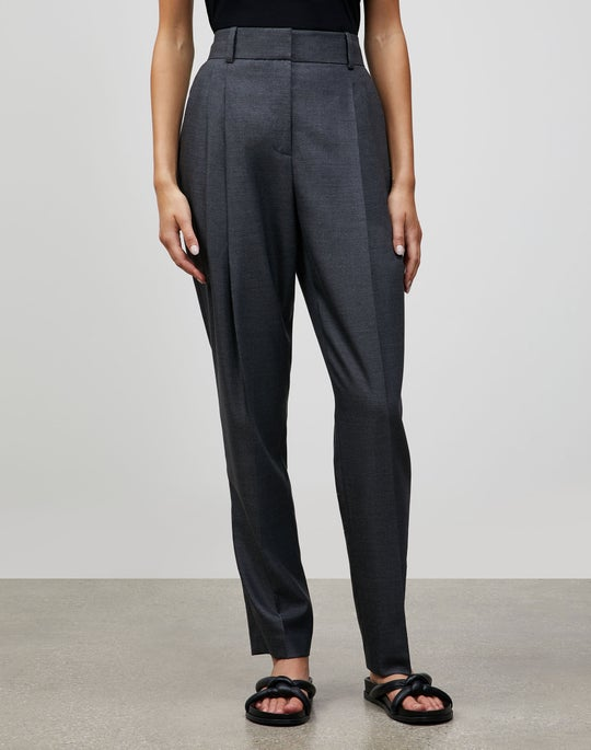 Plus-Size Italian Wool-Silk Suiting Ellis Pleated Pant