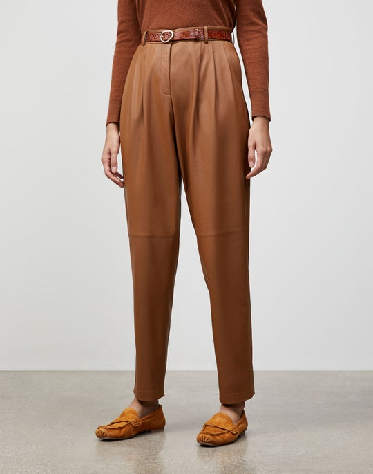 Plus-Size Supple Nappa Leather Vestry Pant