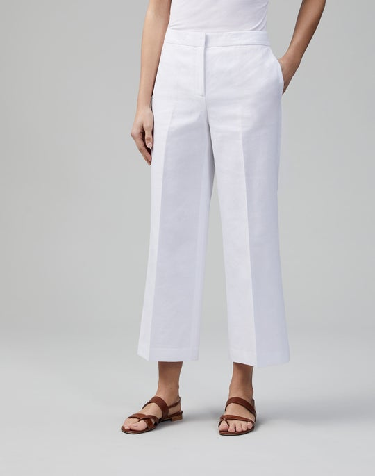 Italian Cotton-Linen Weave Cropped Dalton Wide-Leg Pant
