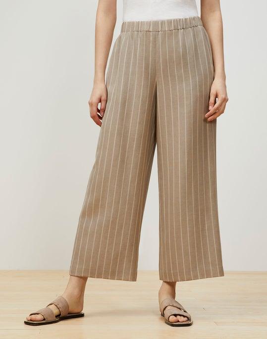 Plus-Size Riverside Cropped Pant In Pinstripe Italian Linen-Wool