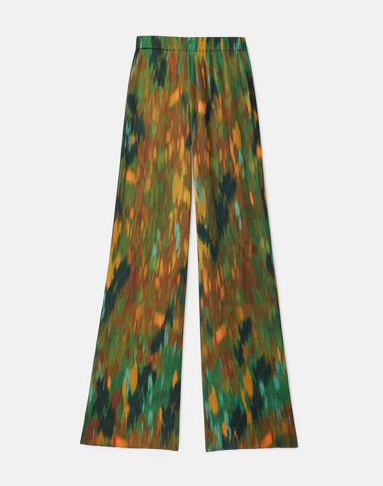 Riverside Pleated Pant In Reverie Print KindMade Hammered Satin