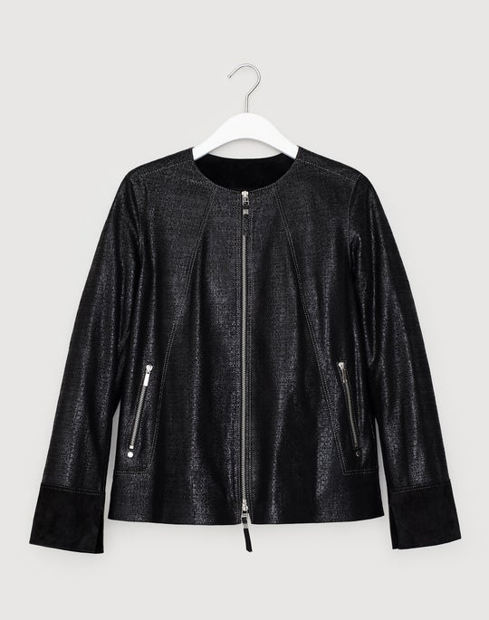 Crackled Metallic Lambskin Anasophia Jacket