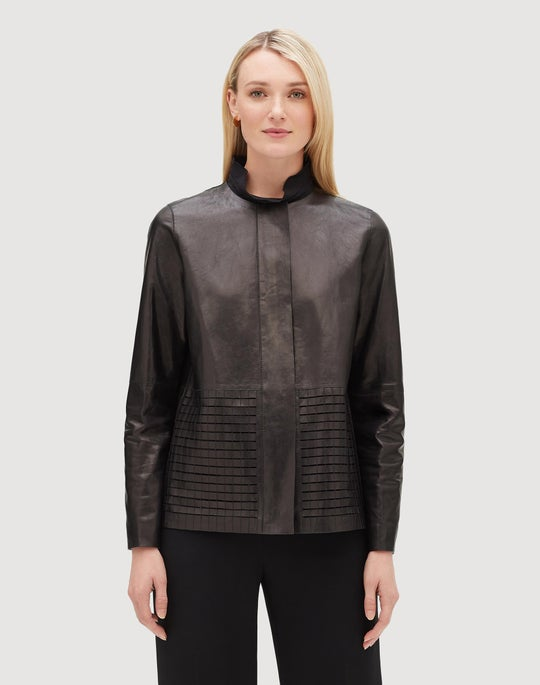Plus-Size Glazed Weightless Lambskin Rayen Jacket