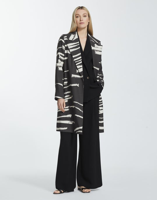Plus-Size Painted Zebra Stripe Print Drape Cloth Mayfair Trench Coat