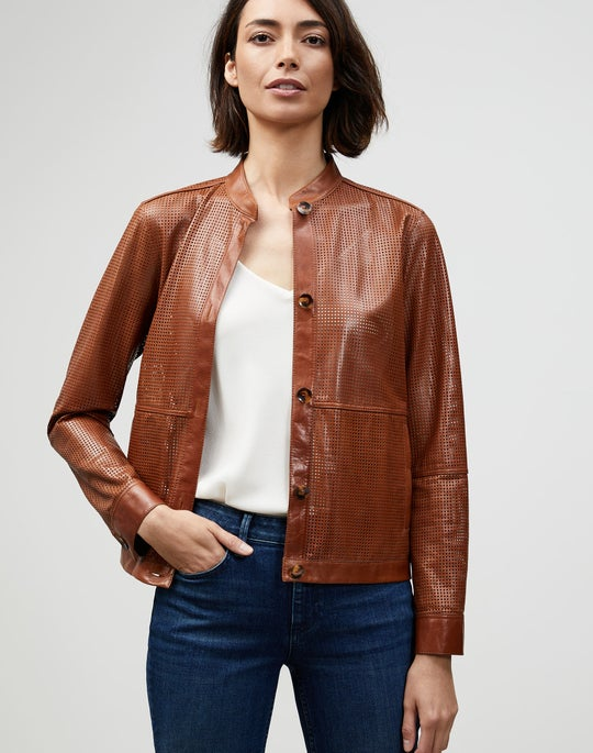 Lacquered Lambskin Perforated Becker Bomber Jacket
