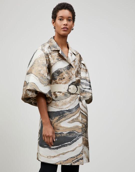 Plus-Size Italian Petra Jacquard Rosa Coat
