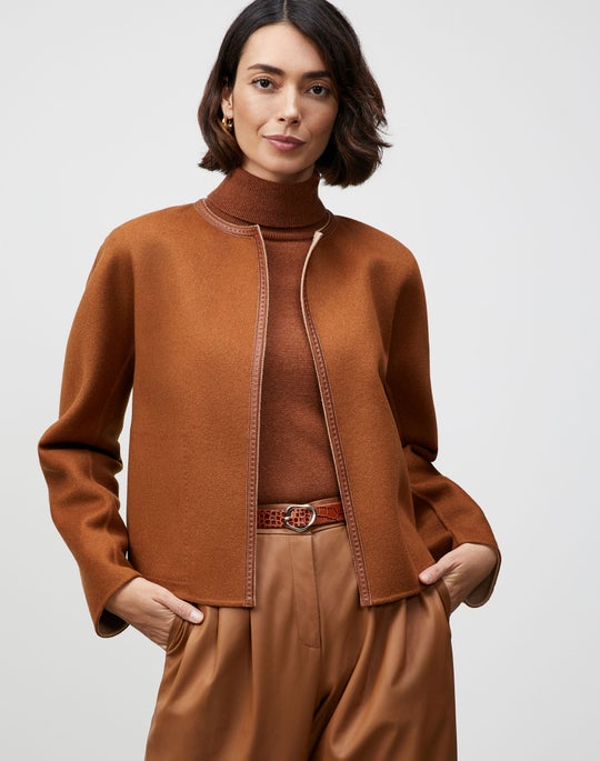 Plus-Size Two-Tone Double Face Reversible Filippa Jacket