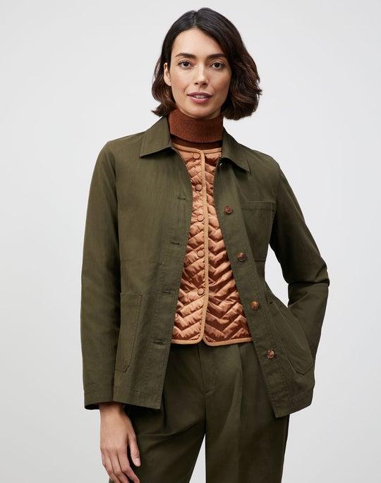 Plus-Size Italian Sueded Cotton Amaris Shirt Jacket