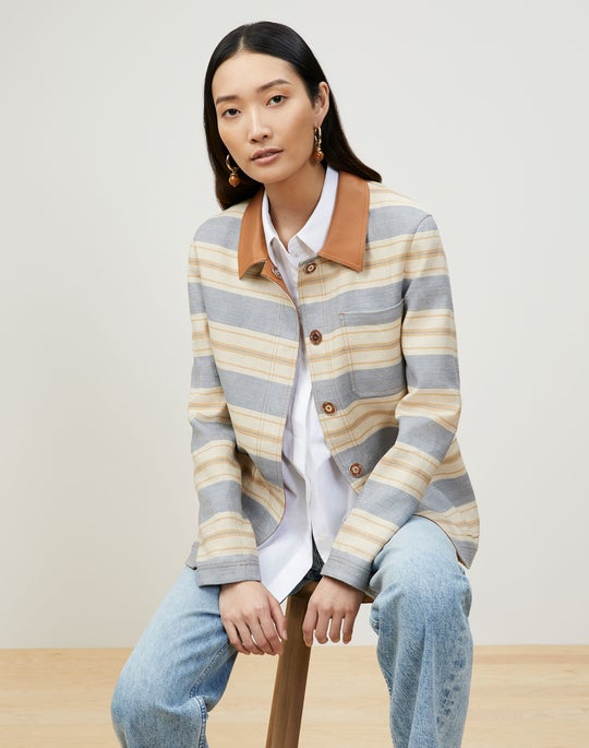 Amaris Jacket In Patio Stripe Italian Kindlinen