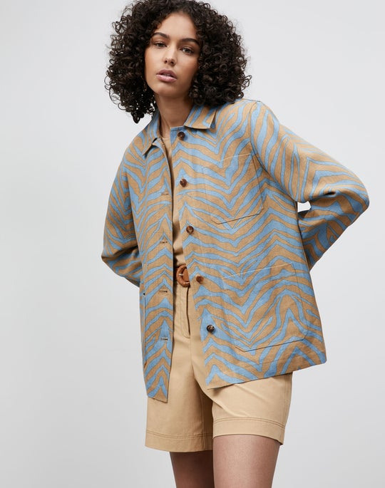 Plus-Size Amaris Jacket In Zevron Print Linen