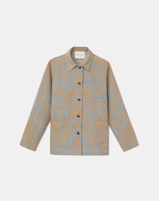 Amaris Shirt Jacket In Zevron Print Italian Linen