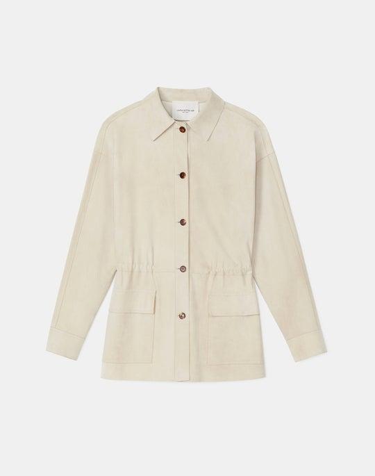 Devan Shirt Jacket In Italian Paperfine Suede