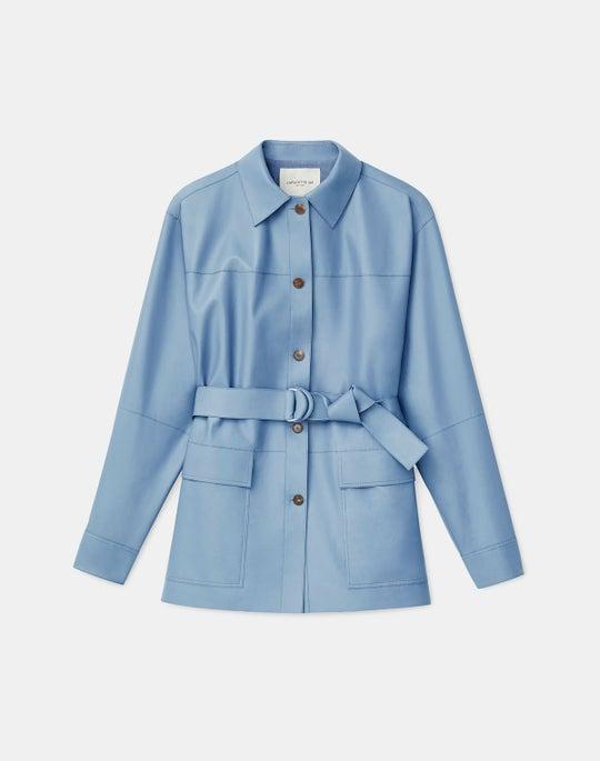 Plus-Size Devan Shirt Jacket In Plonge Lambskin