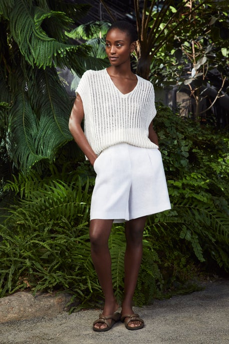Open Knit Sweater and Degraw Short