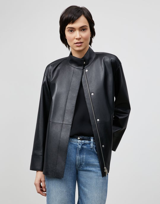 Plus-Size Ansel Jacket In Lightweight Plonge Lambskin