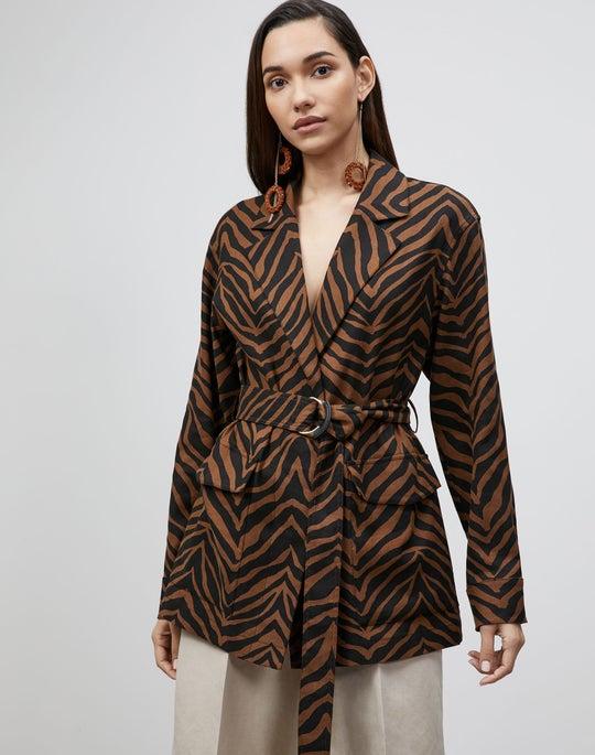 Plus-Size Valeria Jacket In Zevron Print Granular Weave