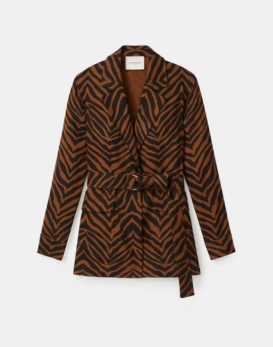 Valeria Jacket In Zevron Print Granular Weave