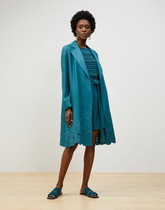 Liliana Trench In Embroidered Lavish Linen