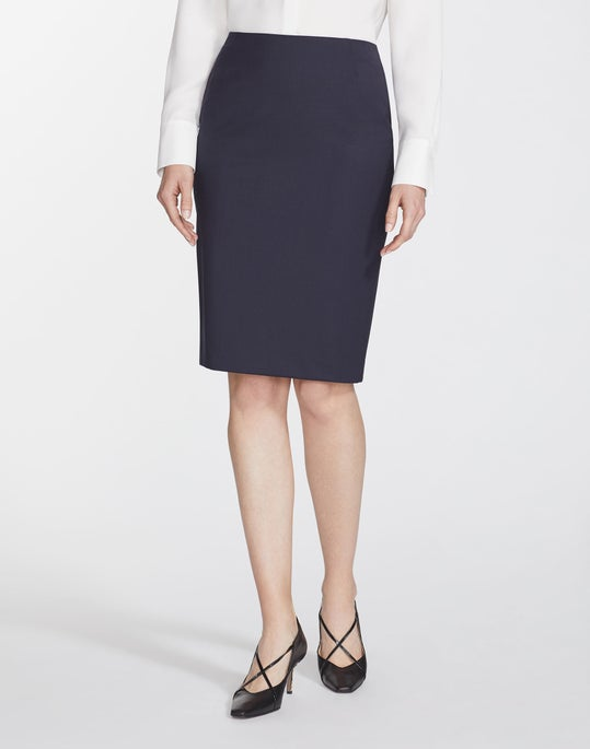Plus-Size Italian Stretch Wool Pencil Skirt