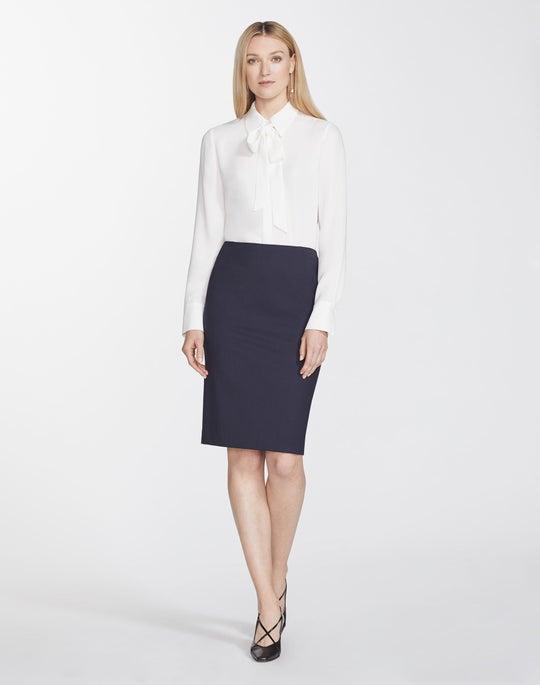 Italian Stretch Wool Pencil Skirt