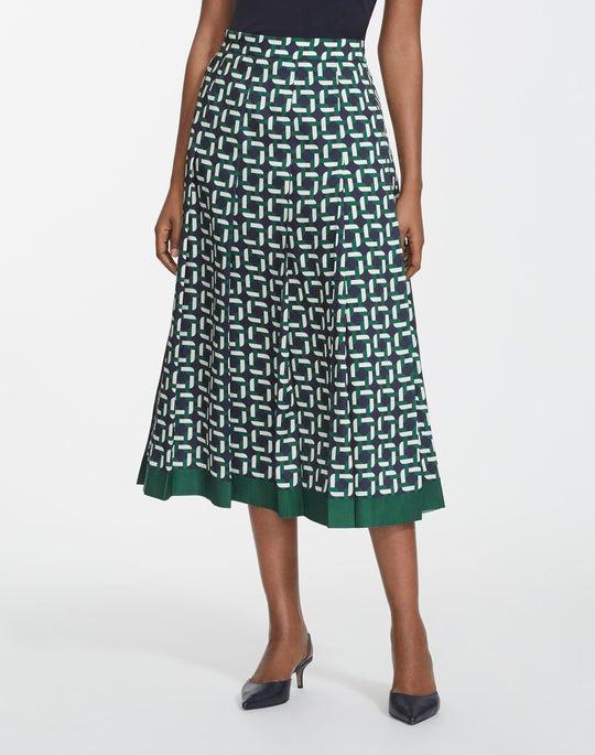 Geo Link Print Twill Braxton Skirt