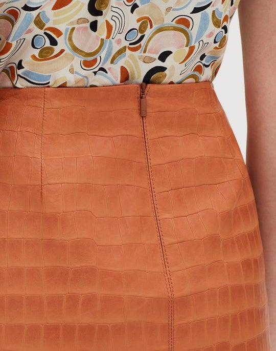 Etched Croco Lambskin Esma Skirt
