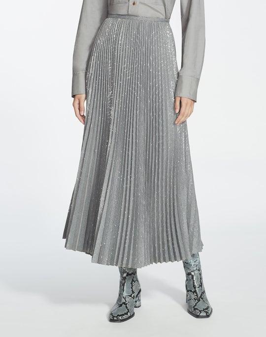 Plus-Size Prosperous Pleated Sequin Jahira Skirt