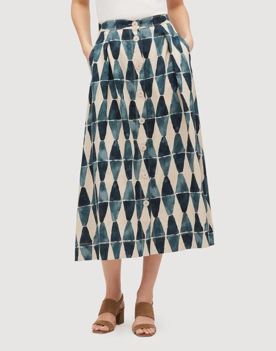 Diamante Print Linen Orly Flare Skirt
