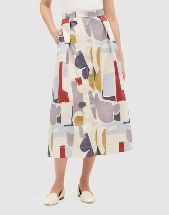 Suspended Abstract Print Cotton Orly Flare Skirt