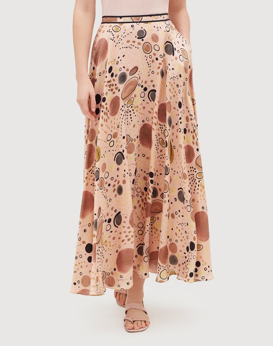 Petite Surrealist Circles Print Silk Ambria Skirt