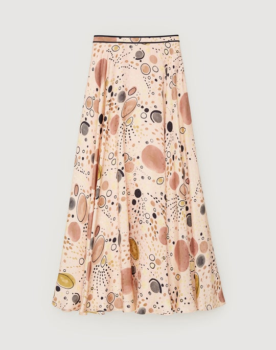 Surrealist Circles Print Silk Ambria Skirt