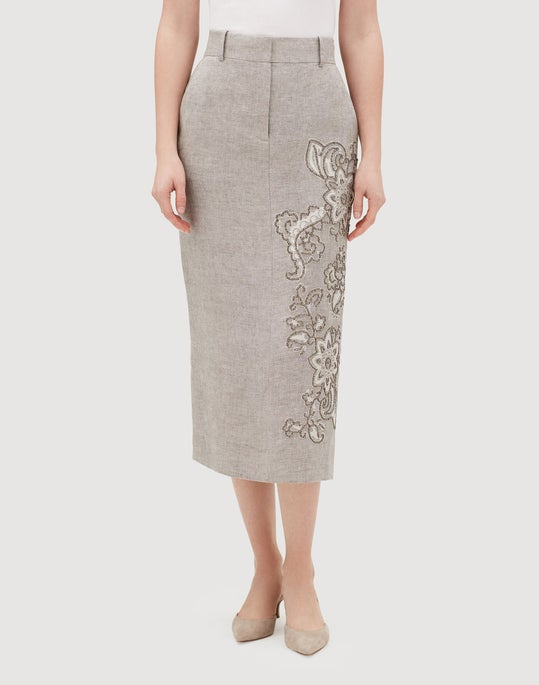 Plus-Size Gridded Linen Milani Skirt