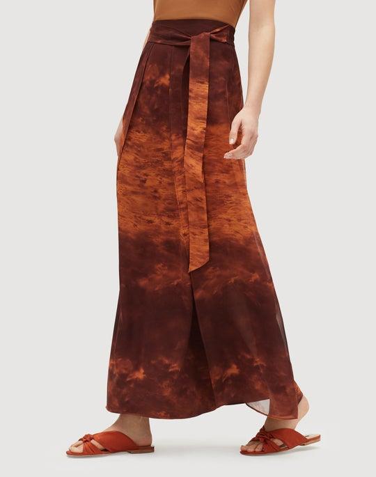 Sunset Sky Print Silk Maxi Sahara Skirt
