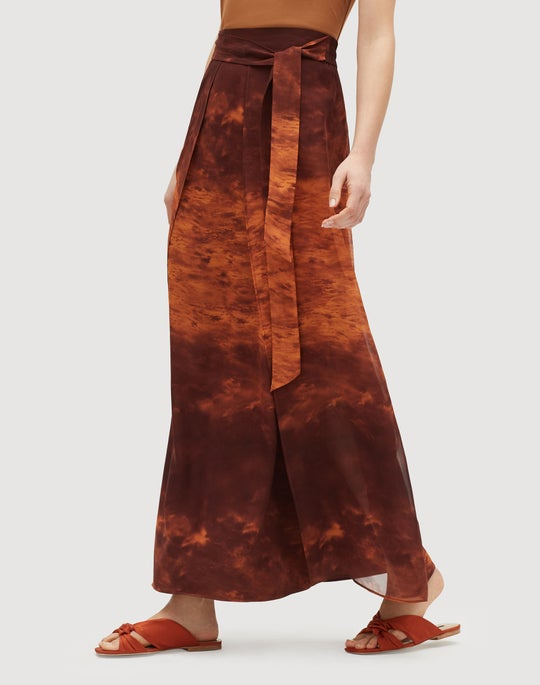 Sunset Sky Print Silk Maxi Sahara Skirt