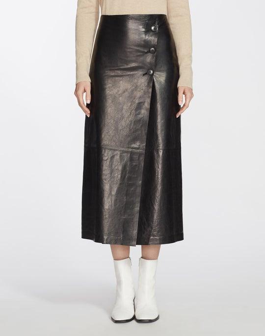 Glazed Weightless Lambskin Leyla Skirt